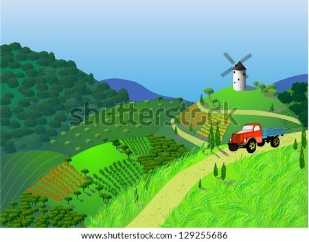 Summer landscape. Vector illustration - stock vector