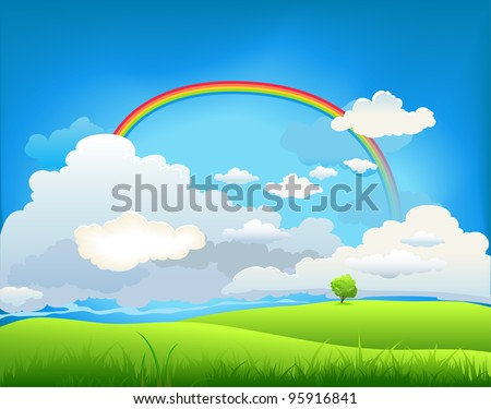 Summer landscape with a rainbow and the lone tree - stock vector