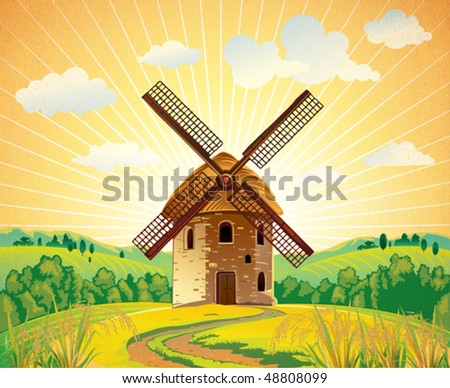 Summer landscape with a windmill - stock vector