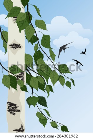 summer landscape with birch trees, blue sky and swallows - stock vector