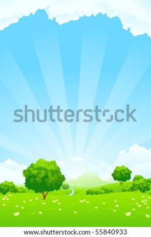 Summer Landscape with blue sky trees flowers and clouds - stock vector