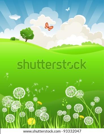 Summer landscape with dandelion - stock vector