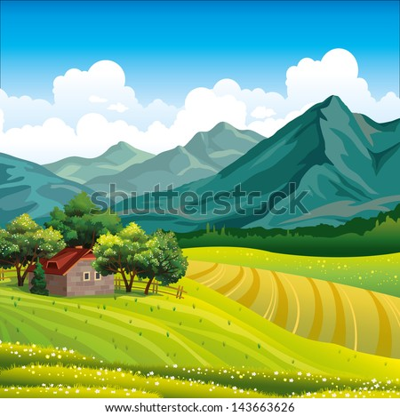Summer landscape with green field, wooden house in a forest and mountains on a blue sky - stock vector