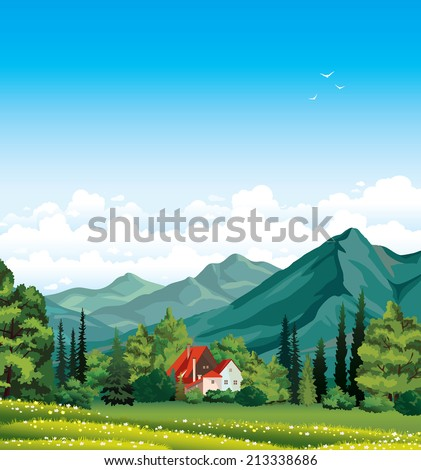 Summer landscape with green forest, blossom field, mountains and house with red roof on a blue cloudy sky.  - stock vector