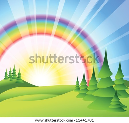 Summer landscape with green grass, trees and sun rise - stock vector