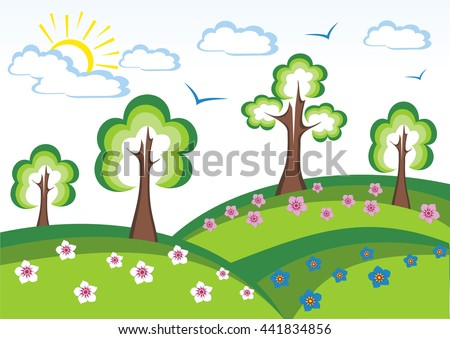 Summer landscape with meadows and flowers. Vector Green Landscape with trees, clouds, flowers. Summer meadow