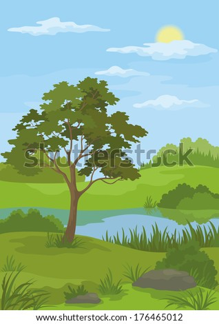 Summer landscape with pine tree, lake, sun and blue sky. Vector - stock vector