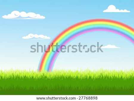 Summer landscape with rainbow, vector illustration, EPS file included