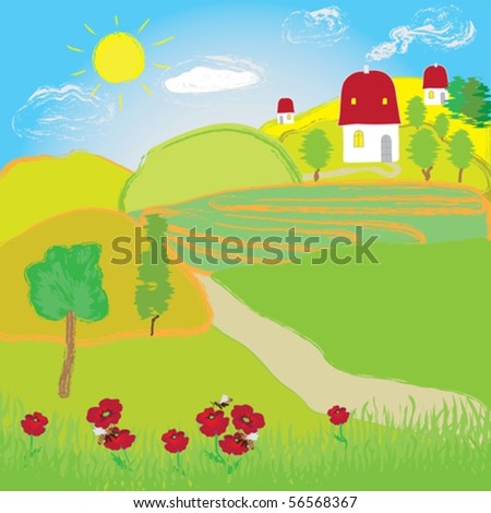 Summer landscape with sun, fields, trees and houses