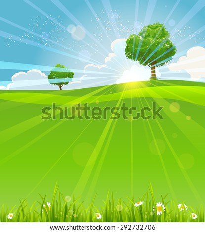 Summer landscape with sunrise with place for text. Nature positive design for advertising, leaflet, cards, invitation and so on. - stock vector