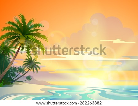 summer landscape with the tropical coast - stock vector