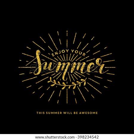 Summer lettering illustration - stock vector