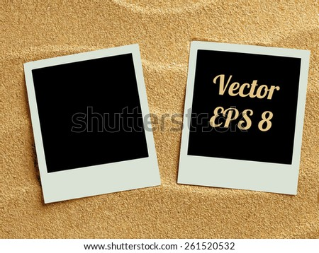 Summer like retro style empty polaroid photo cards lying on a sea sand. Sunny summer background. Vector illustration EPS 8. - stock vector