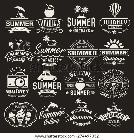 Summer logotypes set. Summer typography designs. Vintage design elements, logos, labels, icons, objects and calligraphic designs. Summer holidays. - stock vector