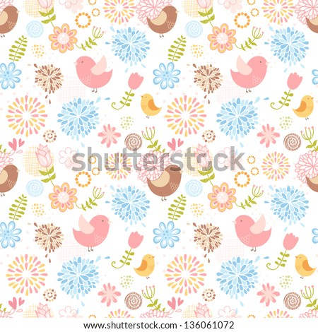 Summer lovely floral seamless pattern with birds and flowers - stock vector