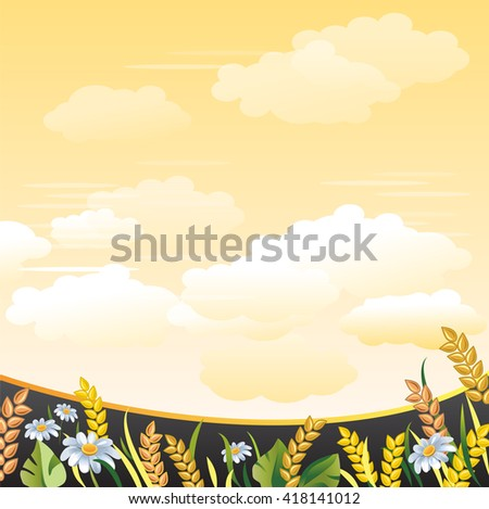 Summer meadow. Agricultural background. Wheat Ears and Camomile Flowers. Yellow sky with clouds. - stock vector