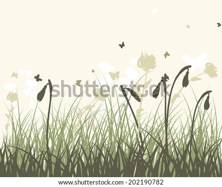 Summer meadow background. EPS 10 vector illustration without transparency and meshes. - stock vector