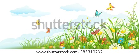 Summer meadow banner with green grass, flowers, butterflies and clouds - stock vector