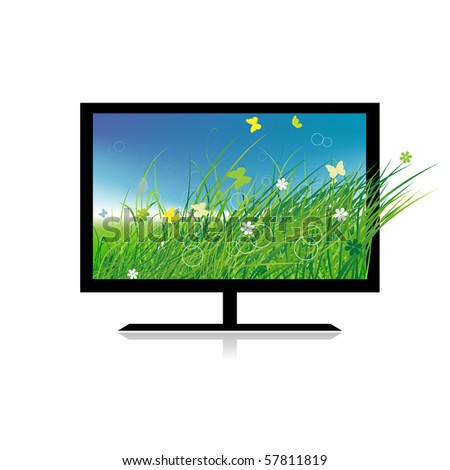 Summer meadow on monitor tv - stock vector