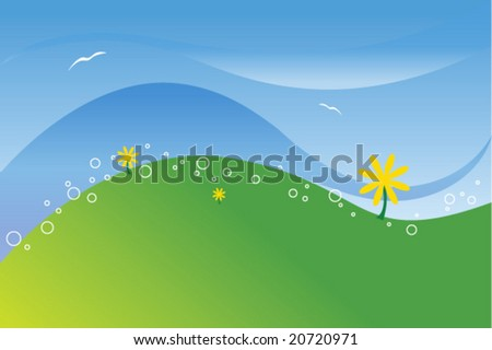 Summer Meadow Vector - stock vector