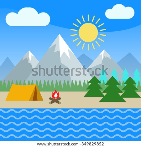 Summer mountain landscape: tent and bonfire in forest near river. Flat style vector illustration. - stock vector