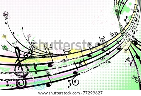 summer music background - stock vector