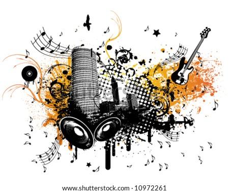 Summer Music City - stock vector