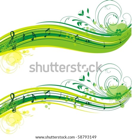 summer musical banner - stock vector