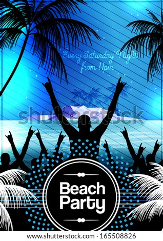 Summer Night Beach Party Flyer Template - Vector Illustration - stock vector