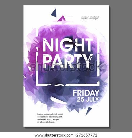 Summer Night Party Vector Flyer Template Stock Vector 2018