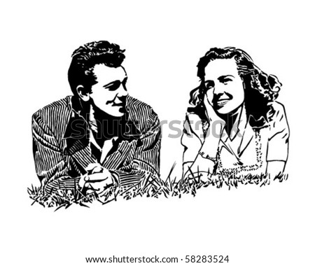 Summer Of Love - Couple On Their First Date - Retro Clip Art - stock vector