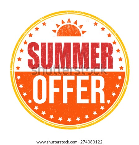 Summer offer grunge rubber stamp on white background, vector illustration - stock vector