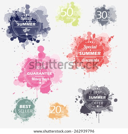 Summer offer stickers with bright watercolor splatters. Big sale and special discounts. Vector Illustration. - stock vector