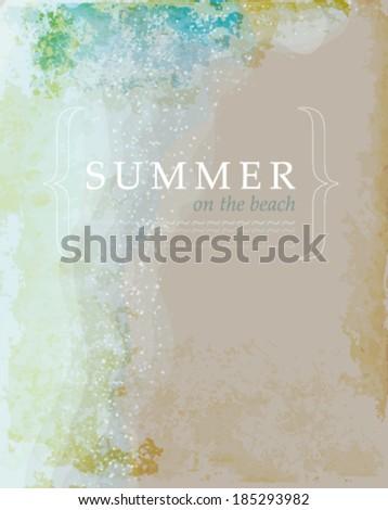 SUMMER on the BEACH / Retro card with sea and sandy beach   - stock vector
