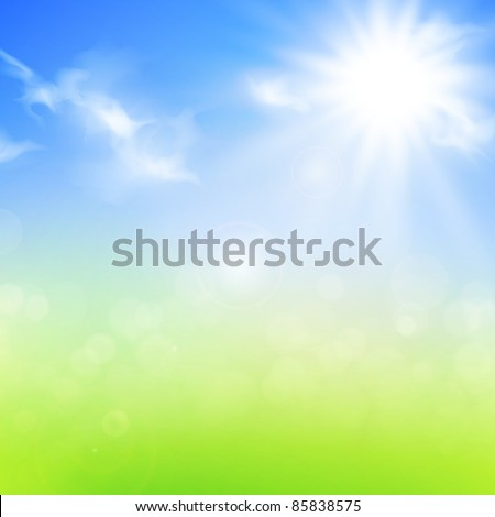 summer or spring background with blue sky and sun - stock vector
