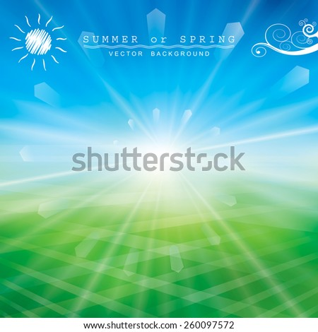 Summer or spring background with glaring sun. - stock vector