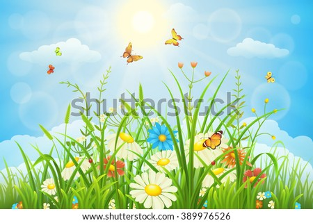 Summer or spring meadow landscape with flowers, grass and butterflies - stock vector