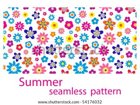 Summer or spring seamless flower pattern, vector illustration - stock vector