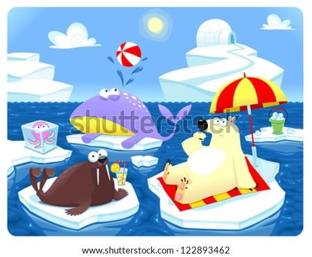 Summer or Winter at the North Pole. Cartoon vector illustration. - stock vector