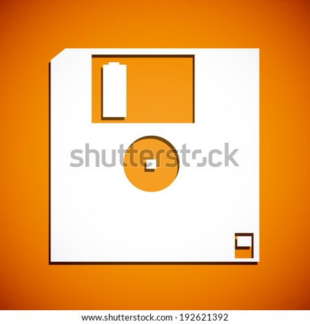 summer orange and white floppy disk icon with shadow background (vector)