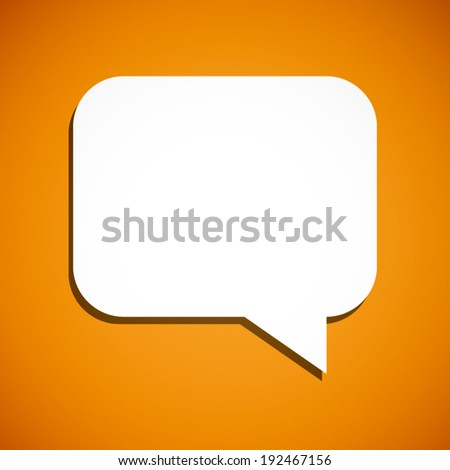 summer orange and white round square speech bubble icon with shadow background (vector)