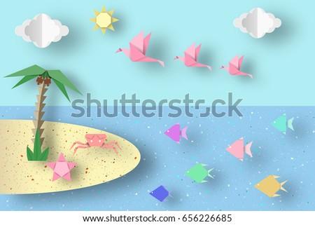 Summer Origami Fun Art Applique Paper Stock Vector 656226685