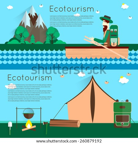Summer outdoor adventures. Camping landscape with tent and bonfire. Man in a boat. Camping and hiking. Colorful vector flat design. Vector flat banner set. - stock vector