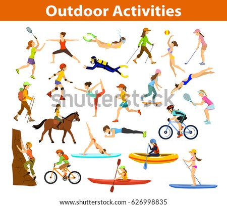 summer outdoor beach sports activities set stock vector 626998835 shutterstock. Black Bedroom Furniture Sets. Home Design Ideas