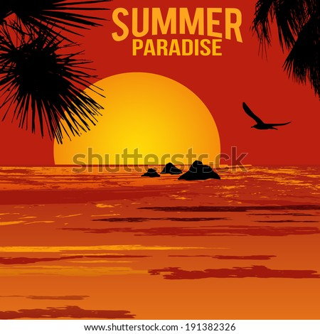 Summer paradise poster at tropical sunset, vector illustration - stock vector