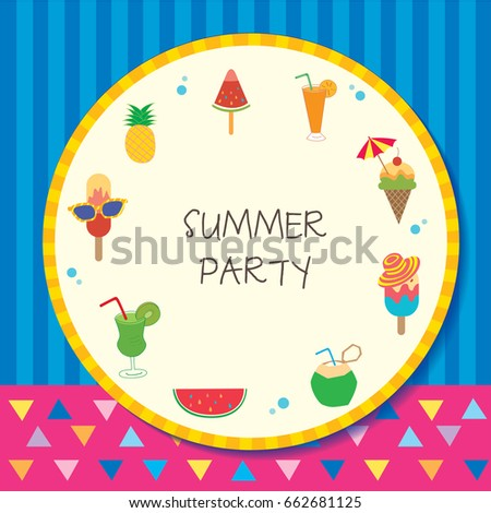 Summer Party Design Circle Template Frame Stock Vector 662681125 ...