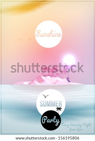 Summer Party Flyer Template - Vector Illustration - stock vector