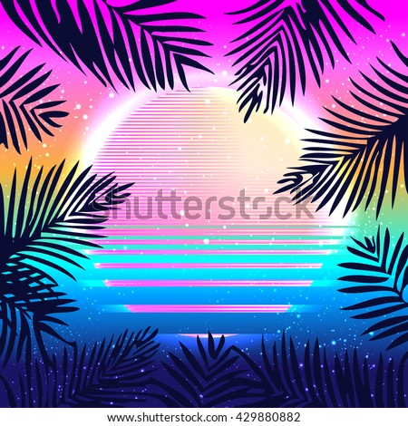 Summer Party holiday background, vector illustration. Tropical  poster with palm leafs.Multicolor abstract  with tropical palm trees and abstract sun in vibrant psychedelic colors. 90s style concept. - stock vector