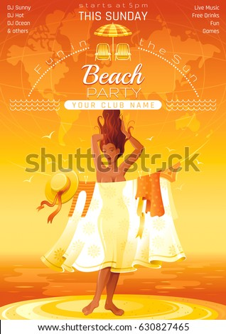Summer Party Invitation Flyer Design Sea Beach Sand Sunset Landscape Background Sexy Young Girl