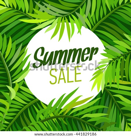 Summer party poster with palm leaf and lettering. Summer sale. Vector illustration - stock vector
